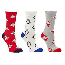 Buy John Lewis Christmas Novelty Ankle Socks, Pack of 3, Multi Online at johnlewis.com