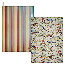 Buy Cath Kidston Garden Birds and Kew Stripe Tea Towels, Set of 2 Online at johnlewis.com