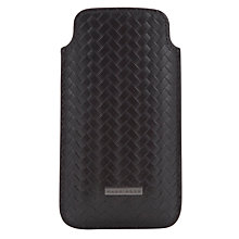 Buy Hugo Boss Woven Leather Phone Case, Black Online at johnlewis.com