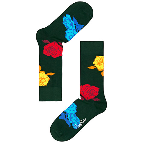 Buy Happy Socks Rose Print Socks, Multi Online at johnlewis.com