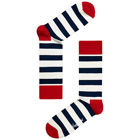 Buy Happy Socks Stripe Ankle Socks, Navy/White/Red Online at johnlewis.com