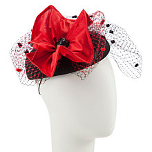 Buy Snoxells Tara Felt Pill Box Hat, Red/Black Online at johnlewis.com