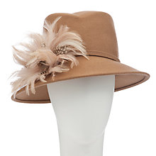 Buy John Lewis Kim Feather Trilby Hat, Camel Online at johnlewis.com