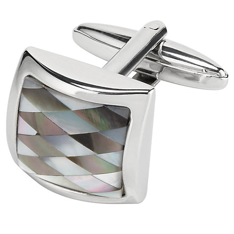 Buy John Lewis Check Mother of Pearl Cufflinks Online at johnlewis.com
