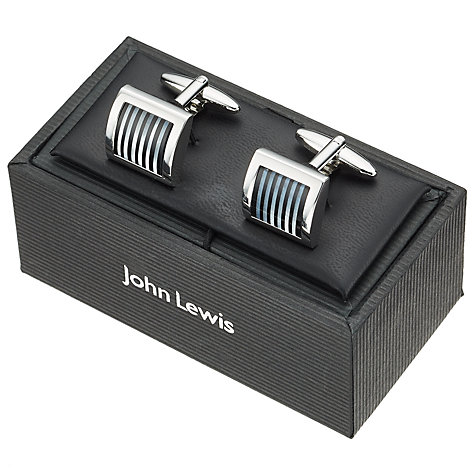 Buy John Lewis Onyx and Mother of Pearl Stripe Cufflinks, Black/Metallics Online at johnlewis.com