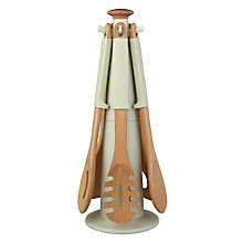 Buy Joseph Joseph Elevate Wooden Kitchen 6 piece Utensil Carousel, Putty + FREE Pink Kitchen Timer Online at johnlewis.com