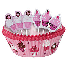 Buy Wilton Pink Cupcakes Cake Case and Pick Set, 24 Pieces Online at johnlewis.com