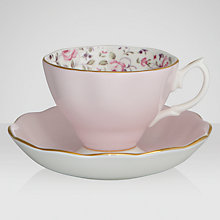 Buy Royal Albert Confetti Teacup & Saucer, White/ Pink Online at johnlewis.com