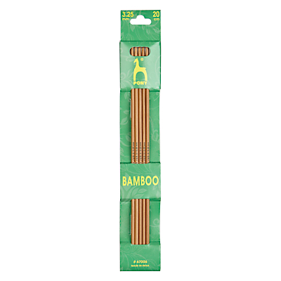 Pony 20cm Bamboo Knitting Needles, Pack of 5, Assorted Widths