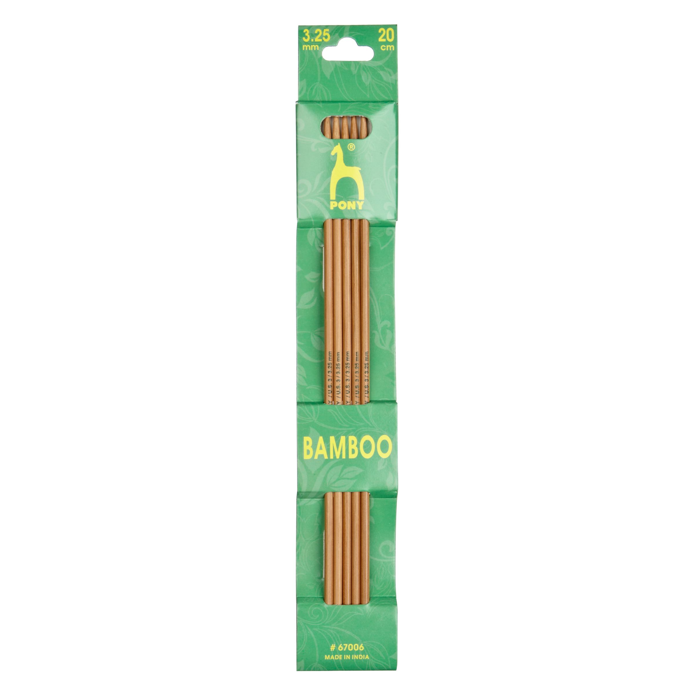 Pony Pony 20cm Bamboo Knitting Needles, Pack of 5, Assorted Widths