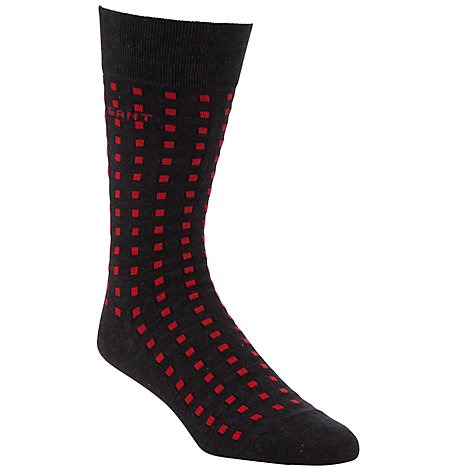 Buy Gant Contrast Box Socks, Black/Red, One Size Online at johnlewis.com