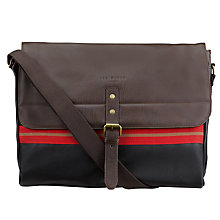 Buy Ted Baker Toswim Webbing Messenger Bag, Chocolate Online at johnlewis.com