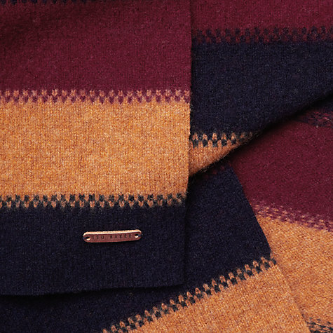 Buy Ted Baker Tricolour Striped Scarf, Red/Yellow/Blue Online at johnlewis.com
