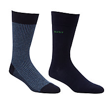 Buy Gant Houndstooth Socks, Pack of 2, Blue Online at johnlewis.com