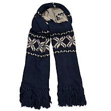 Buy Gant Fair Isle Knitted Wool Scarf, Navy Online at johnlewis.com