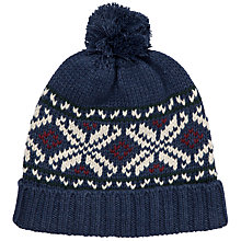 Buy Gant Fair Isle Bobble Hat, Navy Online at johnlewis.com