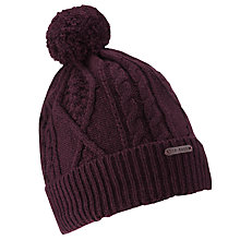 Buy Ted Baker Aranhed Cable Knitted Hat, Purple Online at johnlewis.com