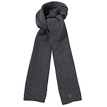 Buy Gant Ribbed Lambswool Scarf, Grey Online at johnlewis.com