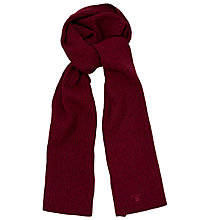 Buy Gant Pure Wool Ribbed Knit Scarf, Burgundy Online at johnlewis.com