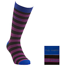 Buy Ted Baker Diddley Stripe Socks, Pack of 2, Black/Purple Online at johnlewis.com