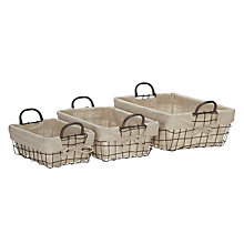 Buy John Lewis Rural Luxe Wire Storage Baskets, Set of 3 Online at johnlewis.com