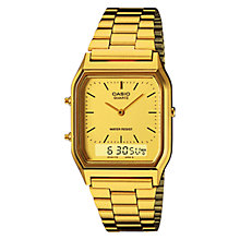 Buy Casio AQ-230GA-9DMQYES Unisex Core Alarm Chronograph Combo Display Watch, Gold Online at johnlewis.com