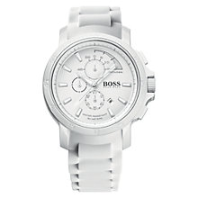 Buy Hugo Boss 1512848 Men's Chronograph Silicone Strap Watch, White Online at johnlewis.com