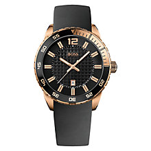 Buy BOSS 21512886 Men's Double Textured Dial Watch, Rose Gold / Black Online at johnlewis.com