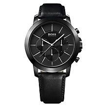 Buy Hugo Boss 21512906 Men's Leather Strap Chronograph  Watch, Black Online at johnlewis.com