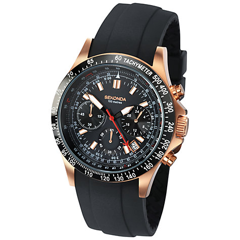 Buy Sekonda 3101.27 Men's Sports Chronograph Silicone Strap Watch, Black / Rose Gold Online at johnlewis.com