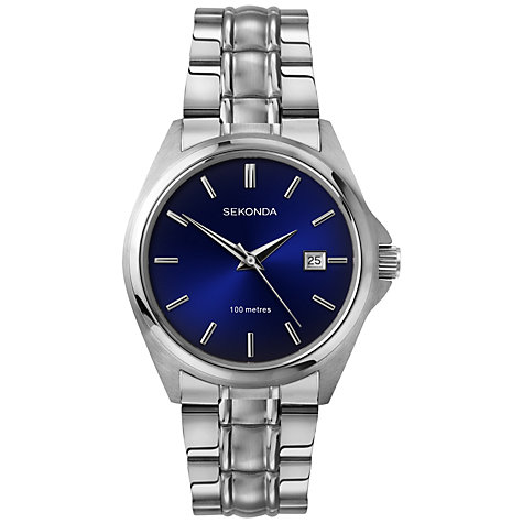 Buy Sekonda 3953.27 Men's Stainless Steel Bracelet Strap Watch, Silver/Blue Online at johnlewis.com