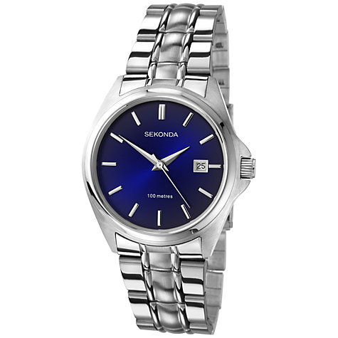 Buy Sekonda 3953.27 Men's Round Dial Stainless Steel Watch, Silver / Blue Online at johnlewis.com