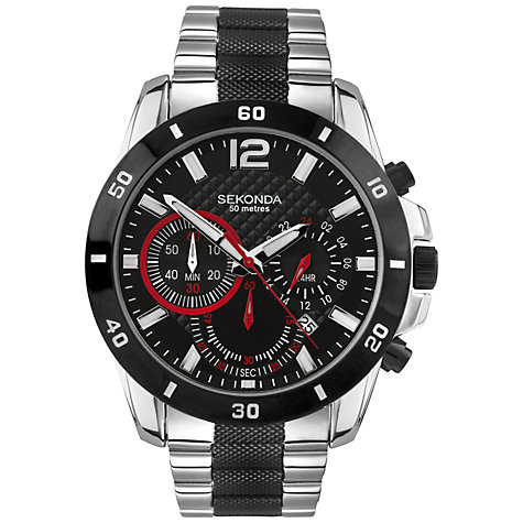 Buy Sekonda 3420.27 Men's Sports Chronograph Bracelet Strap Watch, Silver/Black Online at johnlewis.com