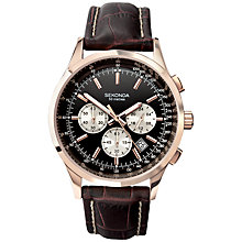 Buy Sekonda 3413.27 Men's Leather Strap Chronograph Watch, Rose Gold / Brown Online at johnlewis.com