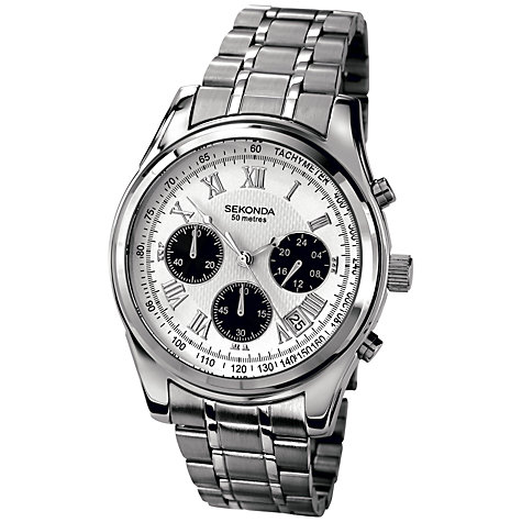Buy Sekonda 3417.27 Men's Steel Bracelet Strap Chronograph Watch, Silver Online at johnlewis.com