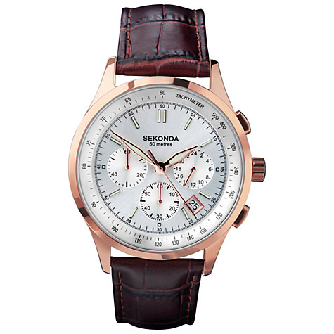 Buy Sekonda 3847.27 Men's Sunray Dial Chronograph Watch, Brown / Rose Gold Online at johnlewis.com