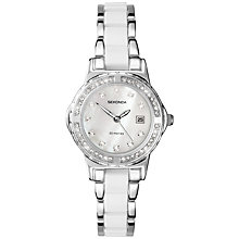 Buy Sekonda 4618.27 Women's Diamante Pearlescent Bracelet Strap Watch, Silver/White Online at johnlewis.com