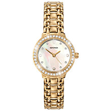 Buy Sekonda 4690.27 Mother of Pearl Diamante Stainless Steel Strap Watch, Gold Online at johnlewis.com
