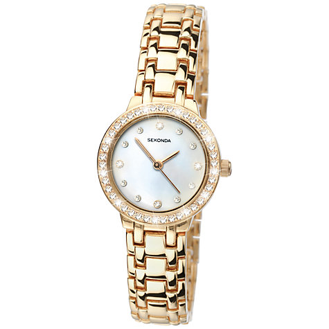 Buy Sekonda 4690.27 Mother of Pearl Diamante Watch, Gold Online at johnlewis.com