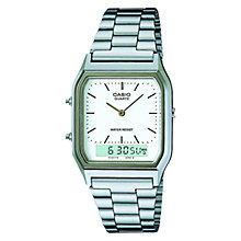 Buy Casio AQ-230A-7DMQYES Unisex Core Alarm Chronograph Combo Display Bracelet Strap Watch, Silver/White Online at johnlewis.com