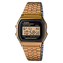 Buy Casio A159WGEA-1EF Unisex Core Classic Digital Chronograph Stainless Steel Watch, Gold Online at johnlewis.com