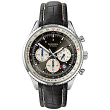 Buy Sekonda 3408.27 Men's Chronograph Pilot's Watch, Black / Silver Online at johnlewis.com