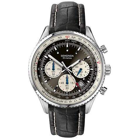 Buy Sekonda 3408.27 Men's Pilot's Chronograph Leather Strap Watch, Black Online at johnlewis.com