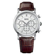 Buy Hugo Boss 1512871 Men's Leather Strap Chronograph Watch, Brown / Silver Online at johnlewis.com