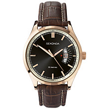 Buy Sekonda 3411.27 Men's Date Window Leather Strap Watch, Rose Gold / Brown Online at johnlewis.com