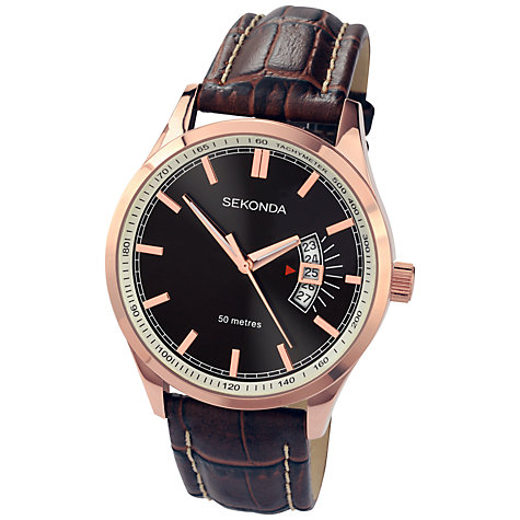 Buy Sekonda 3411.27 Men's Date Window Leather Strap Watch, Brown / Rose Gold Online at johnlewis.com