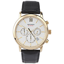 Buy Sekonda 3405.27 Men's Chronograph Leather Strap Watch, Cream / Gold Online at johnlewis.com