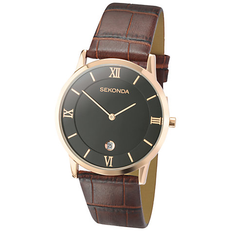 Buy Sekonda 3207.27 Men's Classic Leather Strap Watch, Brown / Rose Gold Online at johnlewis.com