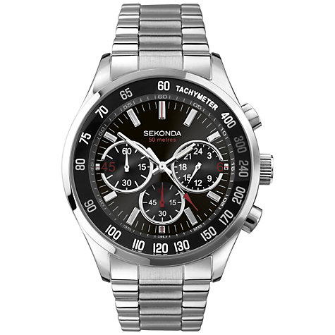 Buy Sekonda 3419.27 Men's Round Sports Chronograph Watch, Black / Silver Online at johnlewis.com