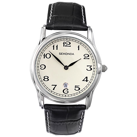 Buy Sekonda 3017.27 Men's Classic Leather Strap Watch, Cream / Black Online at johnlewis.com
